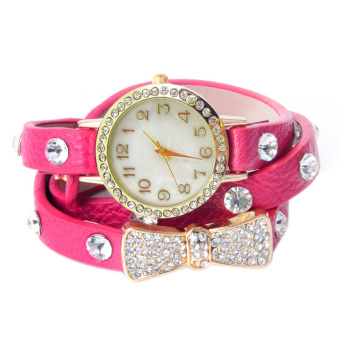 Women's Pink Leather Strap Watch