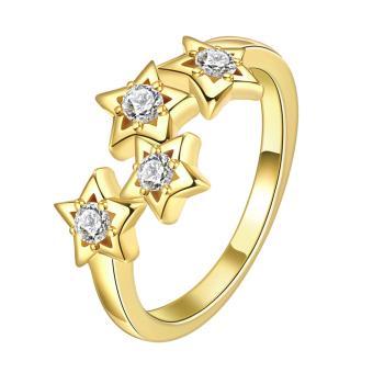 Women's Silverware Zircon Stars Finger Ring Gold (Intl)