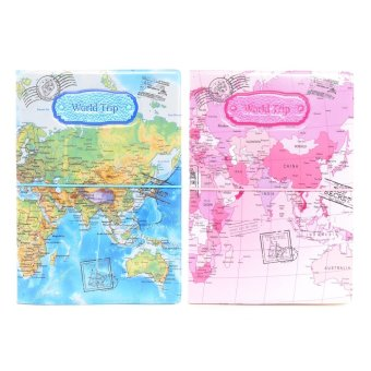 World Trip Couple Passport Holder - Blue and Pink