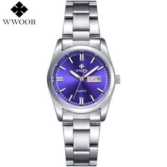 WWOOR Brand Date Day Silver Stainless Steel Quartz Watch Women Watches Ladies Analog Clock Girls Casual Wrist Watch Gift for Women 8804
