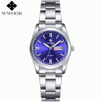 WWOOR Luxury Brand Women Watches Women Quartz Date Analog Clock Ladies Silver Stainless Steel Casual Wrist Watch Female Montre Femme 8804