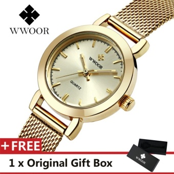 WWOOR Top Luxury Brand Watch Famous Women's Fashion Quartz WatchesWaterproof Dress Women Mesh Wristwatch Gift For Female Gold - intl