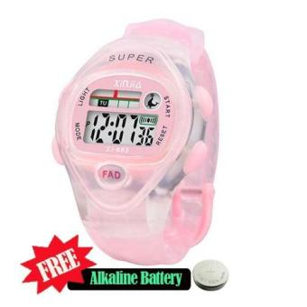 Xinjia Kid's LED Water Resistant Sports Watch Unisex Plastic Strap XJ-663 with FREE Alkaline Battery