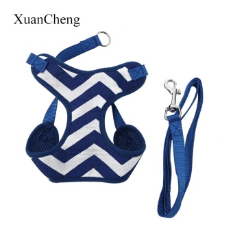 XuanCheng Pet Harness Leash Strap Soft Mesh Dog Cat Adjustable Stripe Vest Cloth(Blue M) - intl
