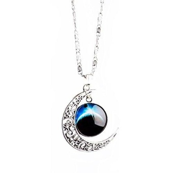 Yantu Dark Blue Women`s Crescent Moon Galactic Universe Cabochon Pendant Necklace Christmas Gift - intl
