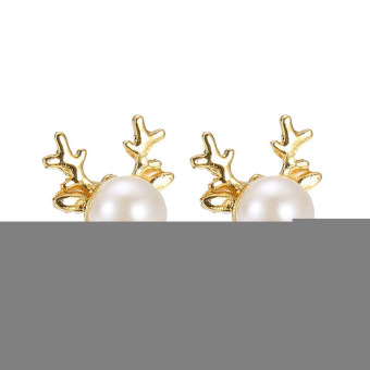 Yazilind New Hot Women Christmas Gift Antlers Pearl Earrings Stud Beautiful Dangler Jewelry - picture 2