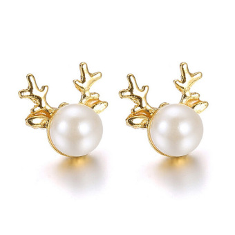 Yazilind New Hot Women Christmas Gift Antlers Pearl Earrings Stud Beautiful Dangler Jewelry