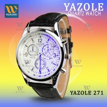 YAZOLE 271 Fashion Business Men PU Leather Band Wristwatch (White/Black)