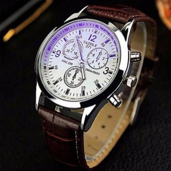 YAZOLE 271 Fashion Business Men PU Leather Band Wristwatch (White/Brown)