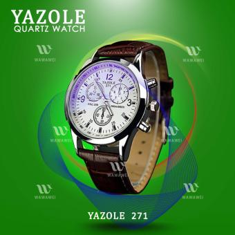 YAZOLE 271 Fashion Business Men PU Leather Band Wristwatch(White/Brown)