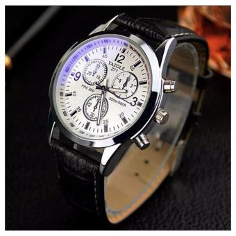 YAZOLE 271(BLACK LEATHER WHITE DIAL) Fashion Luxury Brand Watches Men PU Leather Band Live Waterproof Quartz Watch Cheap Sports Wristwatch