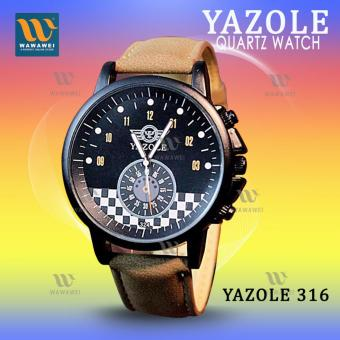 YAZOLE 324 (Brown/Black) Men's Luminous Leather Strap FashionQuartz Watch