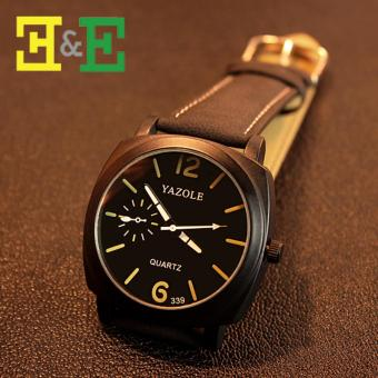 YAZOLE 339 Fashion Luminous Black Strap Sport Black Dial Quartz Wrist Watch