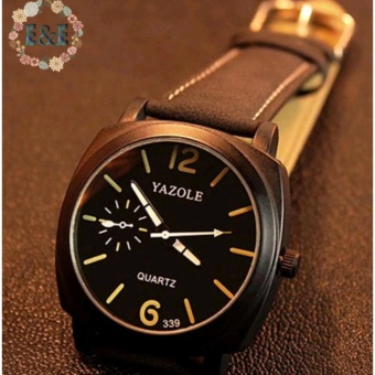 Yazole 339 Men's Luminous Leather Strap Casual Quartz Watch (Black)