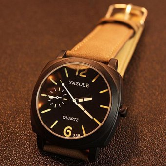 Yazole 339 Men's Luminous Leather Strap Casual Quartz Watch(Brown/Black)