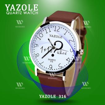 YAZOLE (Brown) Classical Kids Leather Band Fashion Girls JokerStudent Sport Quartz Wrist Watch #316