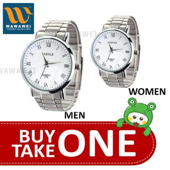 Yazole Couple Watch Gift Stainless Steel Strap Watch Men (White)With Yazole Couple Watch Gift Stainless Steel Strap Watch Women(White)