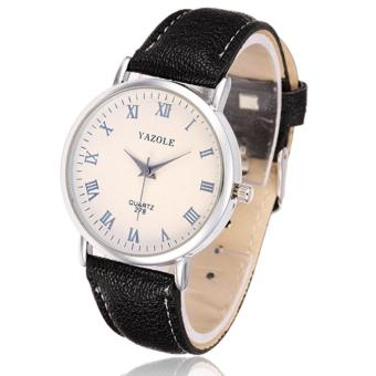 Yazole Leather Strap Men's Watch 278 (Black/White)