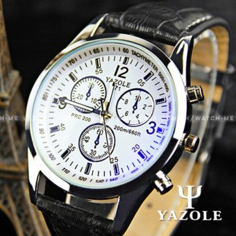 Yazole Men's Blue Ray Glass Chronograph Style Black Leather Strap Watch