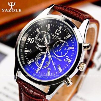 Yazole Men's Blue Ray Glass Chronograph Style Brown Leather Strap Watch