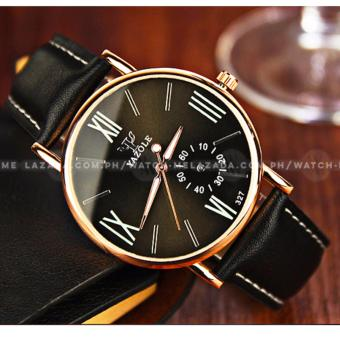 Yazole Men's Classic Deluxe Black Leather Strap Watch - 2