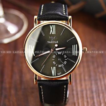 Yazole Men's Classic Deluxe Black Leather Strap Watch - 3