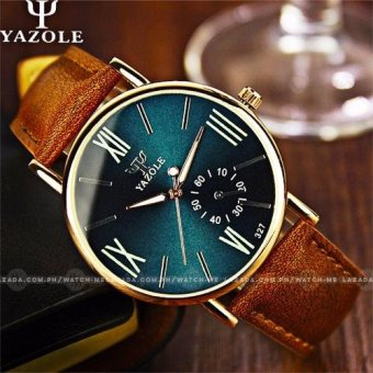 Yazole Men's Classic Deluxe Brown Leather Strap Watch