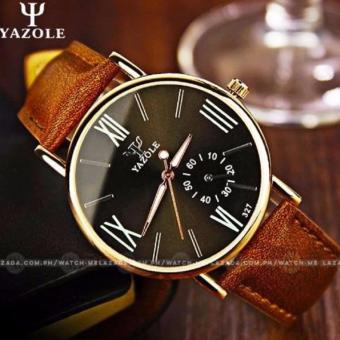 Yazole Men's Classic Deluxe Brown Leather Strap Watch-327(Blue)