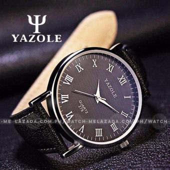 Yazole Men's Classic Minimalist Brown Leather Strap Watch (Black)