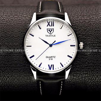 Yazole Men's Classic Rhinestone Black Leather Strap Watch (Black Face) - 2