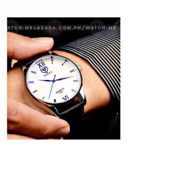 Yazole Men's Classic Rhinestone Black Leather Strap Watch (Black Face) - 3