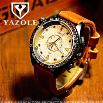 Yazole Men's Military Sport Style Brown Leather Strap Watch