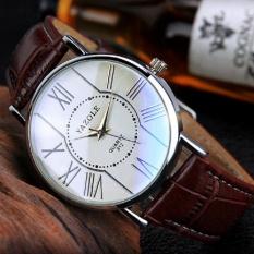 YAZOLE Vintage Men Leather Band Fashion Stainless Steel Sport Bussiness Quartz Wrist Watch YZL311H-Brown