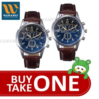 Yazole Watch #271 A-257 Fashionable For All Ocassion Watch UnisexWatch Leather Strap BUY 1 TAKE 1 (Black/Brown) #29805