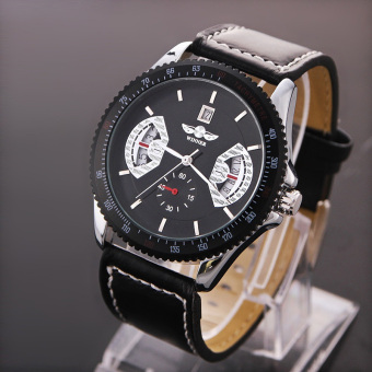 YBC Men Sports Leather Automatic Mechanical Analog Wrist Watch Black - intl