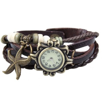YBC Women Retro Bracelet Wrist Watch With Braid Leather WatchbandCoffee