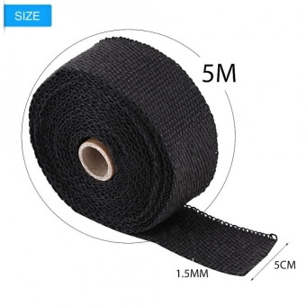 YOSOO 16FT Black Heat Insulation Exhaust Pipe Wrap Tape Cloth for Car Motorcycle - intl