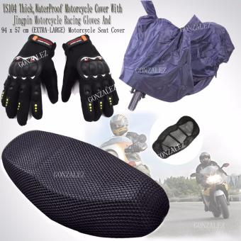 YS104 Thick,Durable and High Quality WaterProof Motorcycle Cover (Navy Blue) With High Quality Jingpin Motorcycle Racing Gloves (Black) And 94 x 57 cm (EXTRA-LARGE) Anti-Slip and Anti-Heat Breathable Motorcycle Seat Cover (Black)