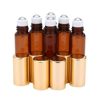 yugos 6 Pcs Amber Glass Roll-on Bottles 5ml for Essential Oil,Aromatherapy,Perfumes and Lip Balms With Stainless Steel Roller Ball - intl