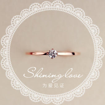 Z 18k female plated rose gold wedding ring diamond ring (Elegant silver 7 No. inner diameter of about 1.7 cm)