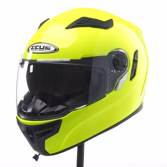 Zeus Full-Face ZS-813 Solid Helmet (Hi-Viz Yellow)