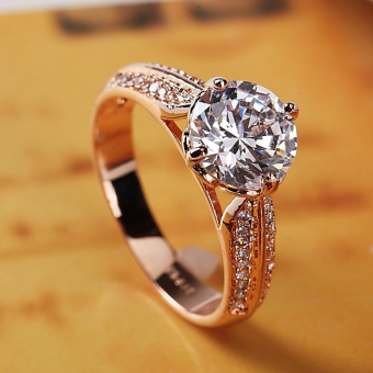 Zhongxiazhijing female gold four claw micro inlay ring wedding ring