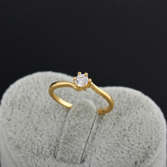 Zircon Engageent Finger Ring 18K God Pated - 2