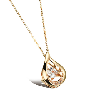 ZUNCLE Drop-type diamond pendant necklace Women valentines(Golden)