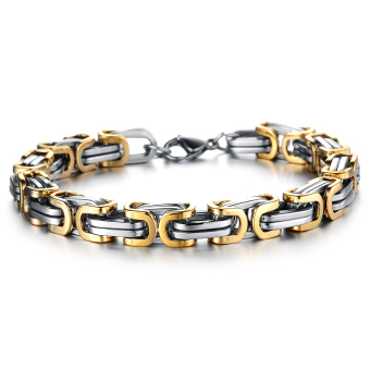ZUNCLE Italian 18K Gold Plated fashion simple titanium steel Men's Domineering bracelet braided(Golden)
