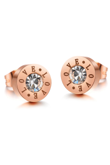 ZUNCLE Italy LOVE Diamond Plated Titanium Steel Woman Earrings (Rose Gold)