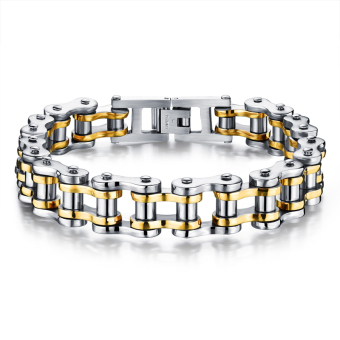ZUNCLE Men Titanium Steel Individuality Motorcycle Chain Bracelet(Gold)
