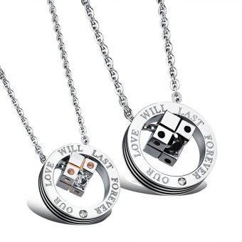ZUNCLE Titanium Steel Magic Cube Couple Necklace(Black+Golden)