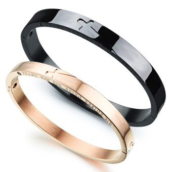 ZUNCLE Titanium Steel No Fade Retro Classic Cross Couple Bracelet(Black+Rose Gold)