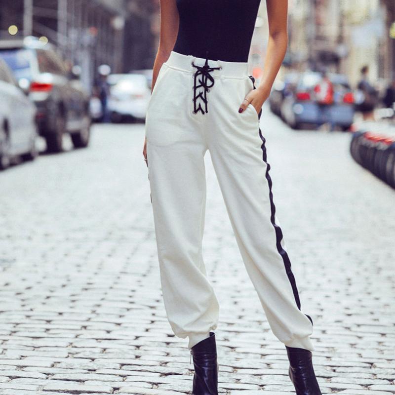Detail Gambar Gaya Barat dalam model panas Hip hop tali sepatu pinggang elastis putih musim gugur